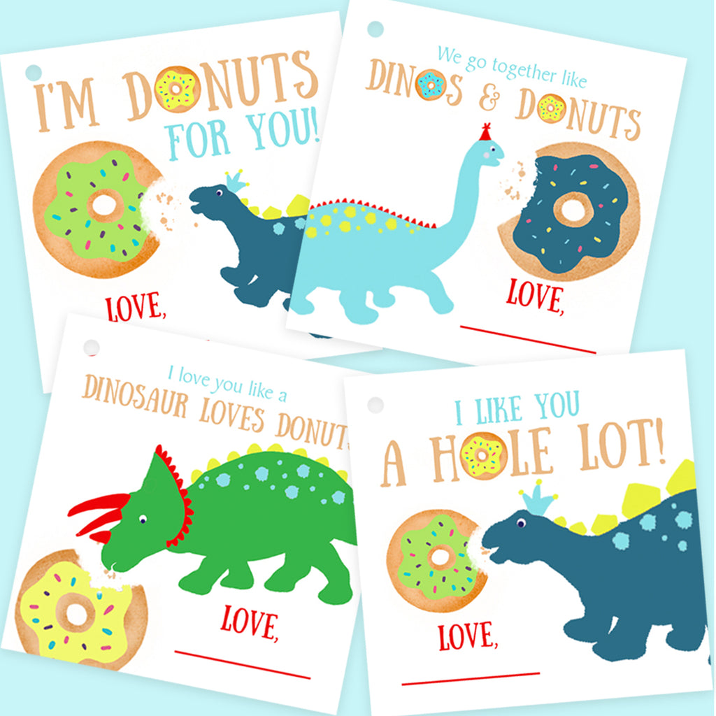 Free Donuts and Dinosaurs Valentine Gift Tags