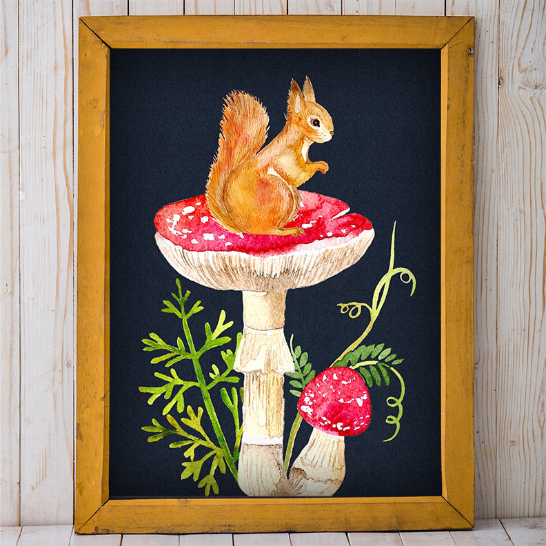 Squirrel and Mushroom Garden Wall Art | Free Printable