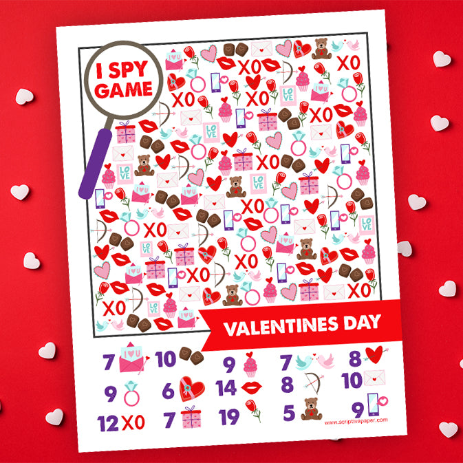 Free Printable Valentines I SPY Game