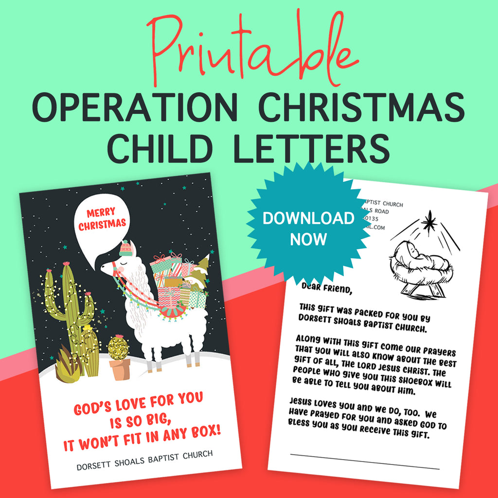 FREE Printable Llama Operation Christmas Child Note