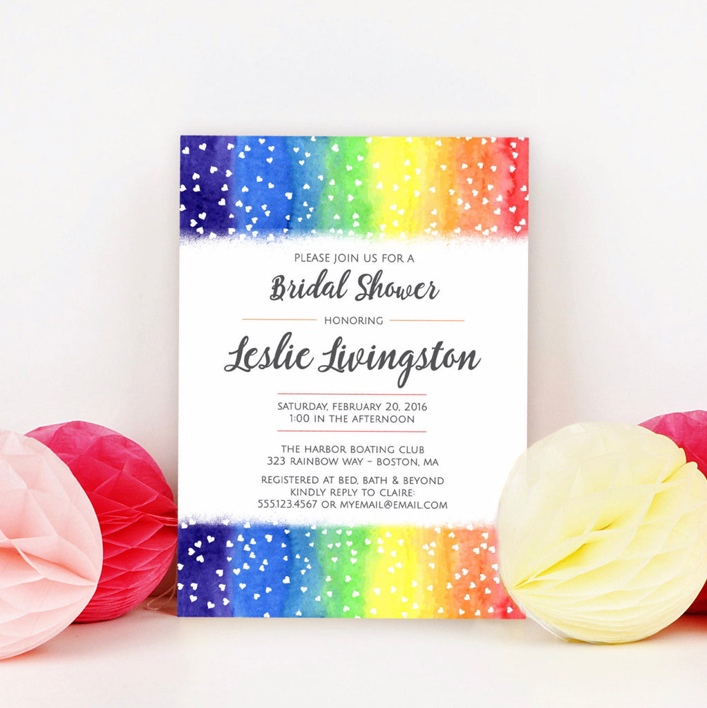 FREE Rainbow Hearts Bridal Shower Invitation Template