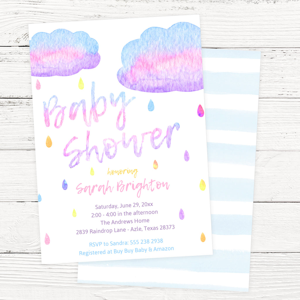 Free Watercolor Raindrop Baby Shower Invitation