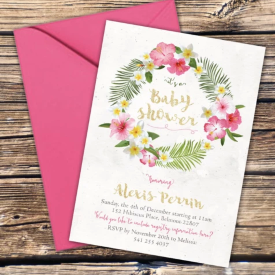 FREE Tropical Baby Shower Invitation Template