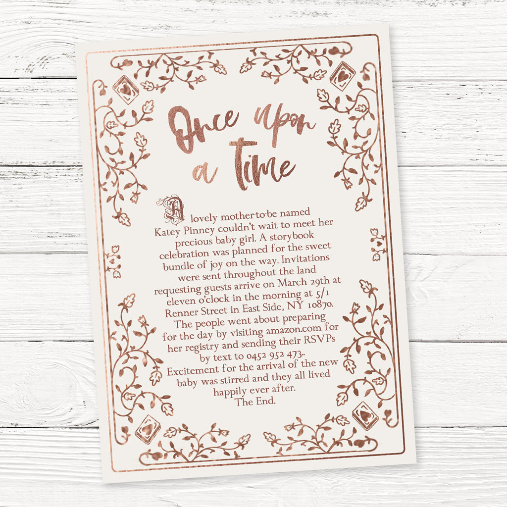 FREE Rose Gold Storybook Baby Shower Invitation Template