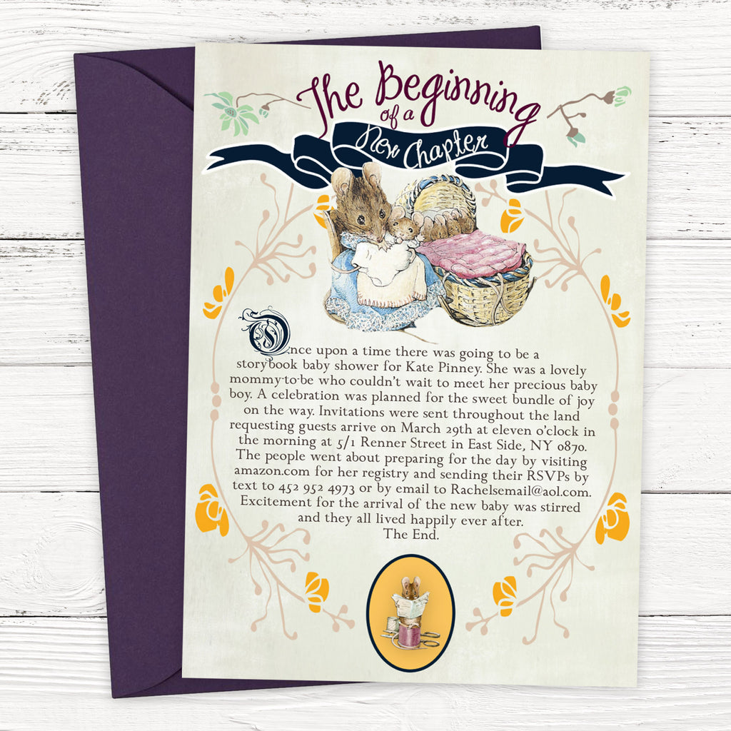FREE Peter Rabbit Storybook Baby Shower Invitation Template