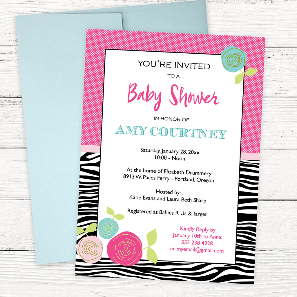 FREE Zebra Print Baby Shower Invitation Template