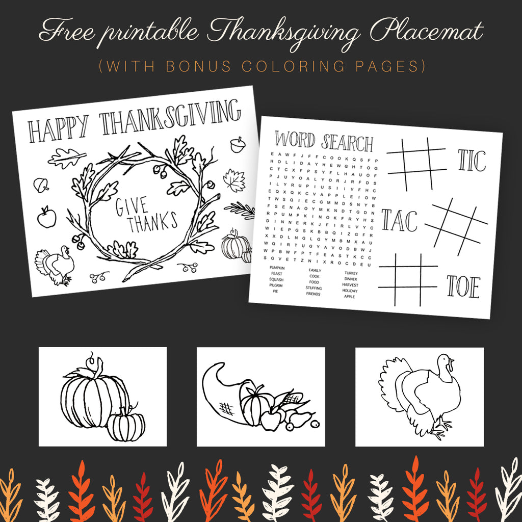 FREE Printable Thanksgiving Placemat for Kids & Coloring Pages
