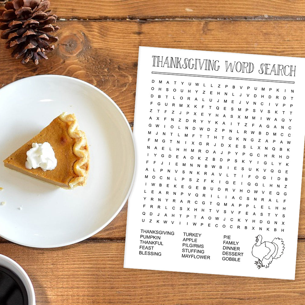 FREE Thanksgiving Word Search for Kids!