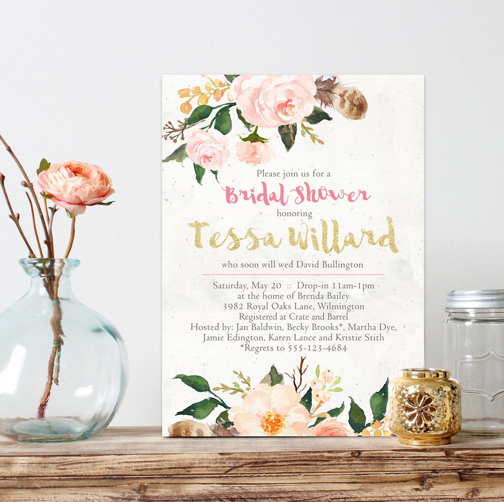 FREE Watercolor Rose Bridal Shower Invitation Template