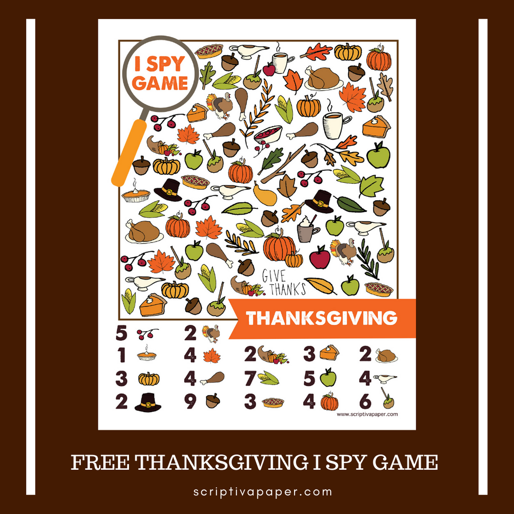 Free Printable I Spy Game for Thanksgiving