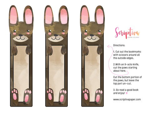 free printable bunny bookmark diy for kids