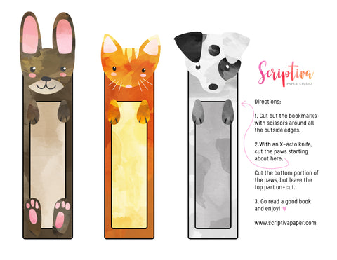 free printable pet bookmarks for kids cat dog and bunny rabbit