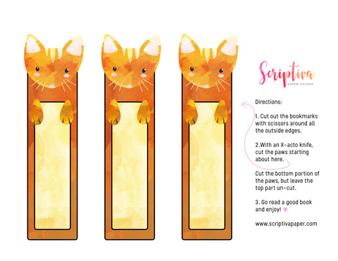 free printable cat bookmarks for kids