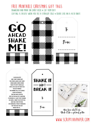 free printable black and white christmas gift tags funny