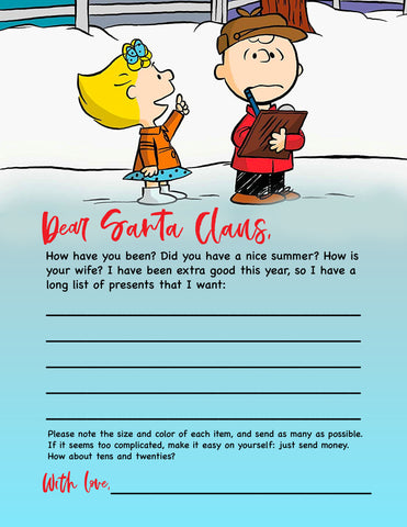 charley brown letter to santa