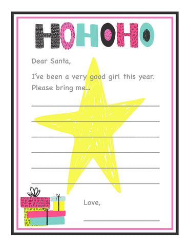 Girl Christmas letter to Santa free printable download