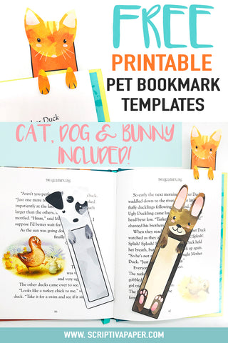 Free printable diy bookmarks for kids with cat dog and bunny rabbit templates