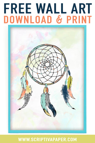 FREE printable dream catcher wall art for girls bedroom