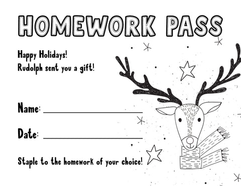 free printable christmas homework pass from Rudolph for teachers and students