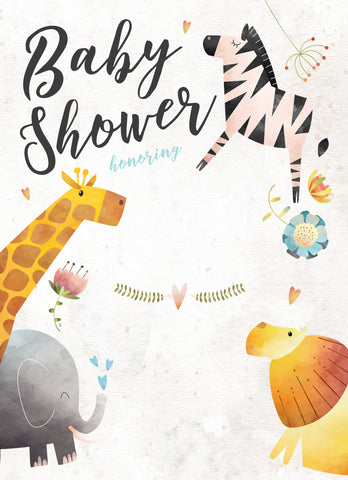 jungle animals baby shower invitation free printable