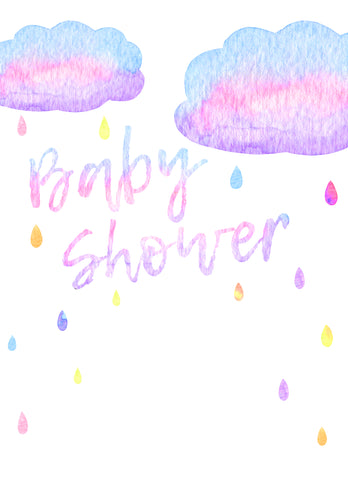 free printable raindrop baby shower invitation template