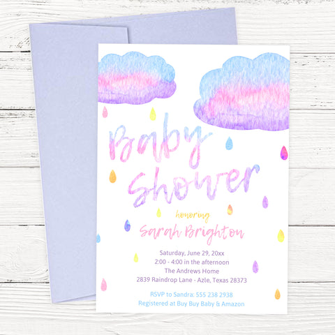 raindrop baby shower invitation