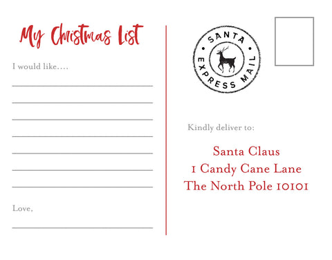 letter to santa post card back free download