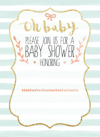 oh baby soft and sweet watercolor baby shower invitation template free