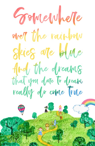 free printable Somewhere over the rainbow wall art decor