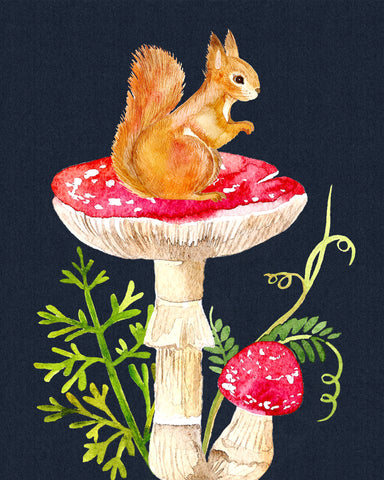 forest and garden squirrel mushroom wall art decor