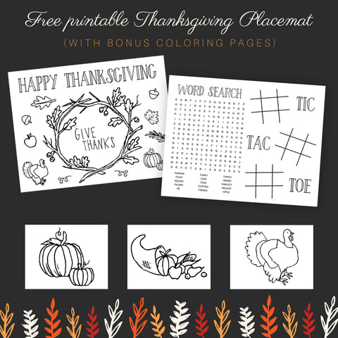 thanksgiving activity placemat with coloring page and word search for kids