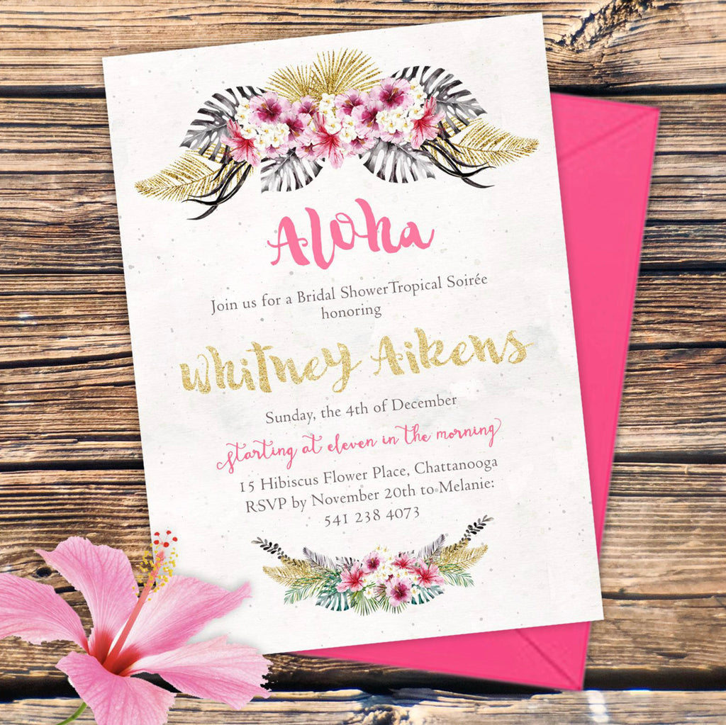 Aloha Tropical Bridal Shower Invitation