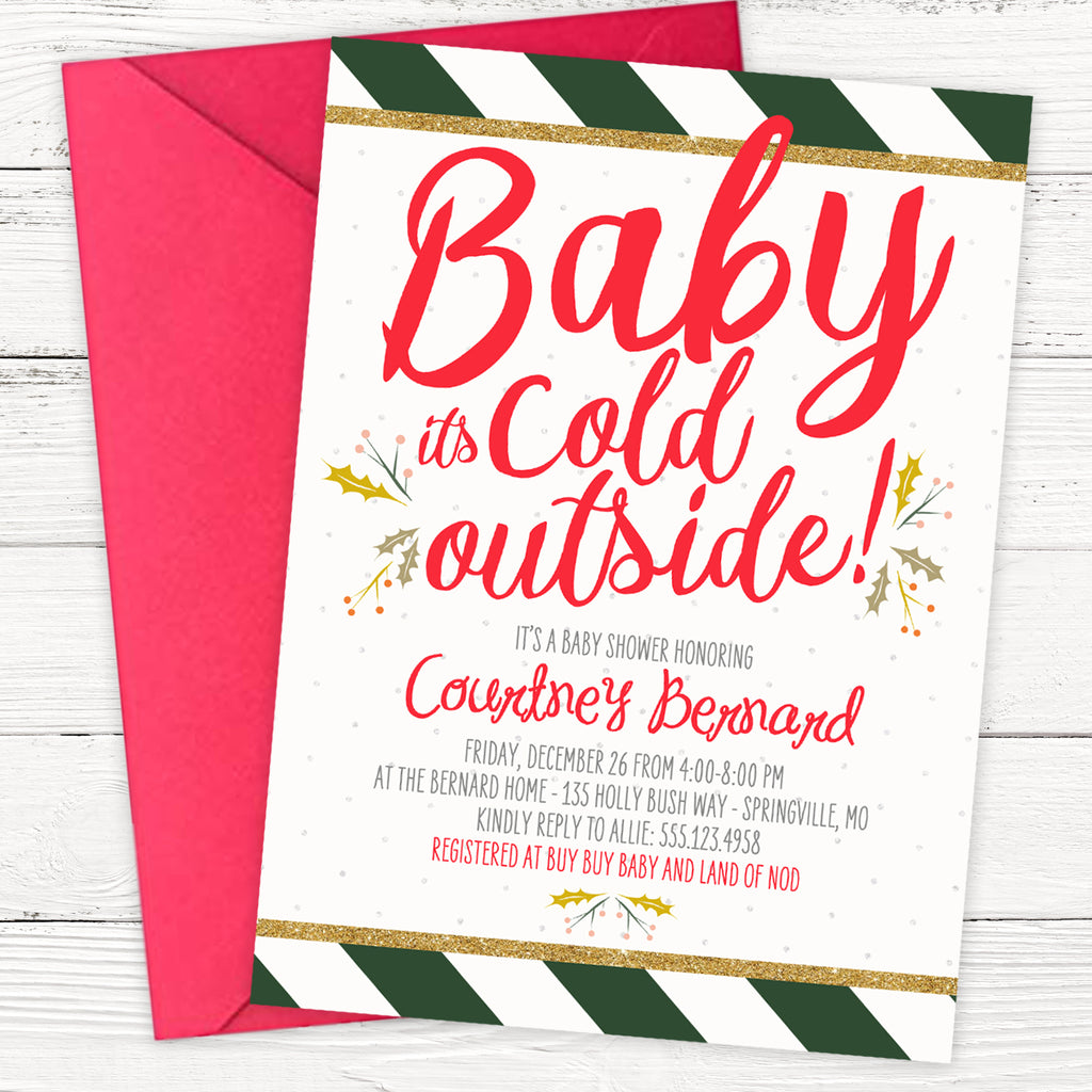 Christmas Baby Shower Invitation | Baby It's Cold Outside