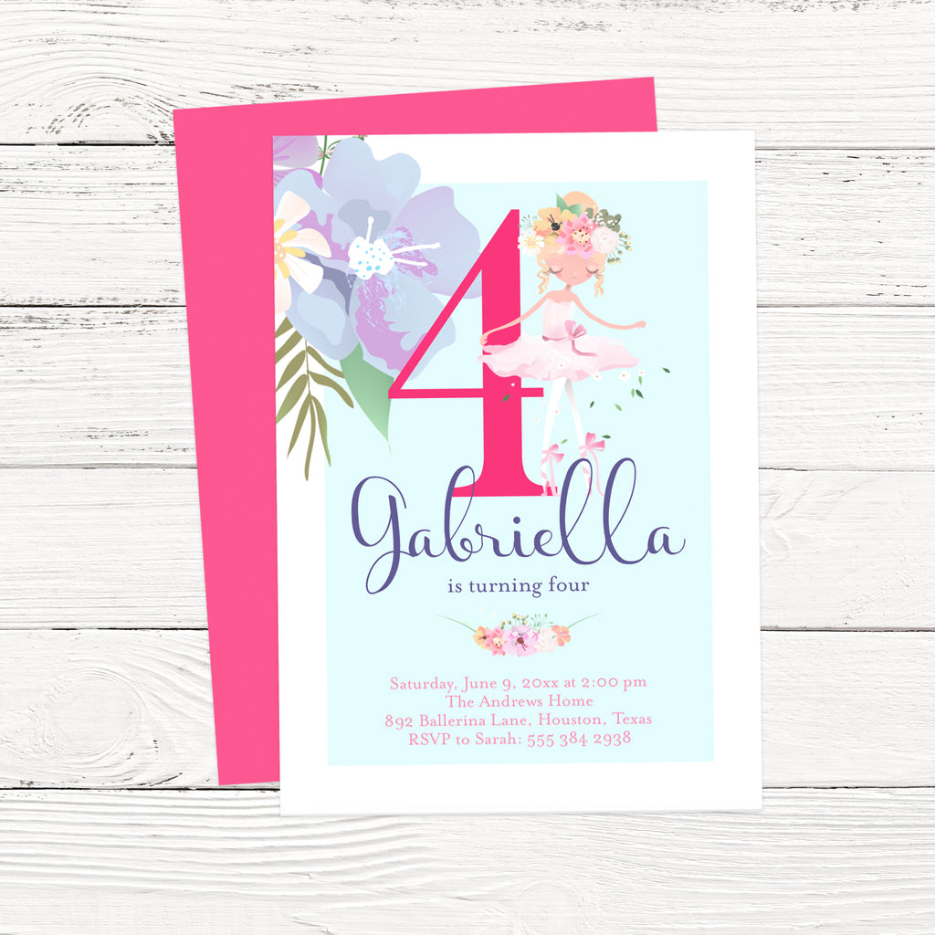 Floral Ballerina Birthday Invitation