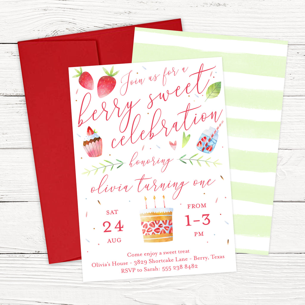 Berry Sweet Strawberry Birthday Invitation