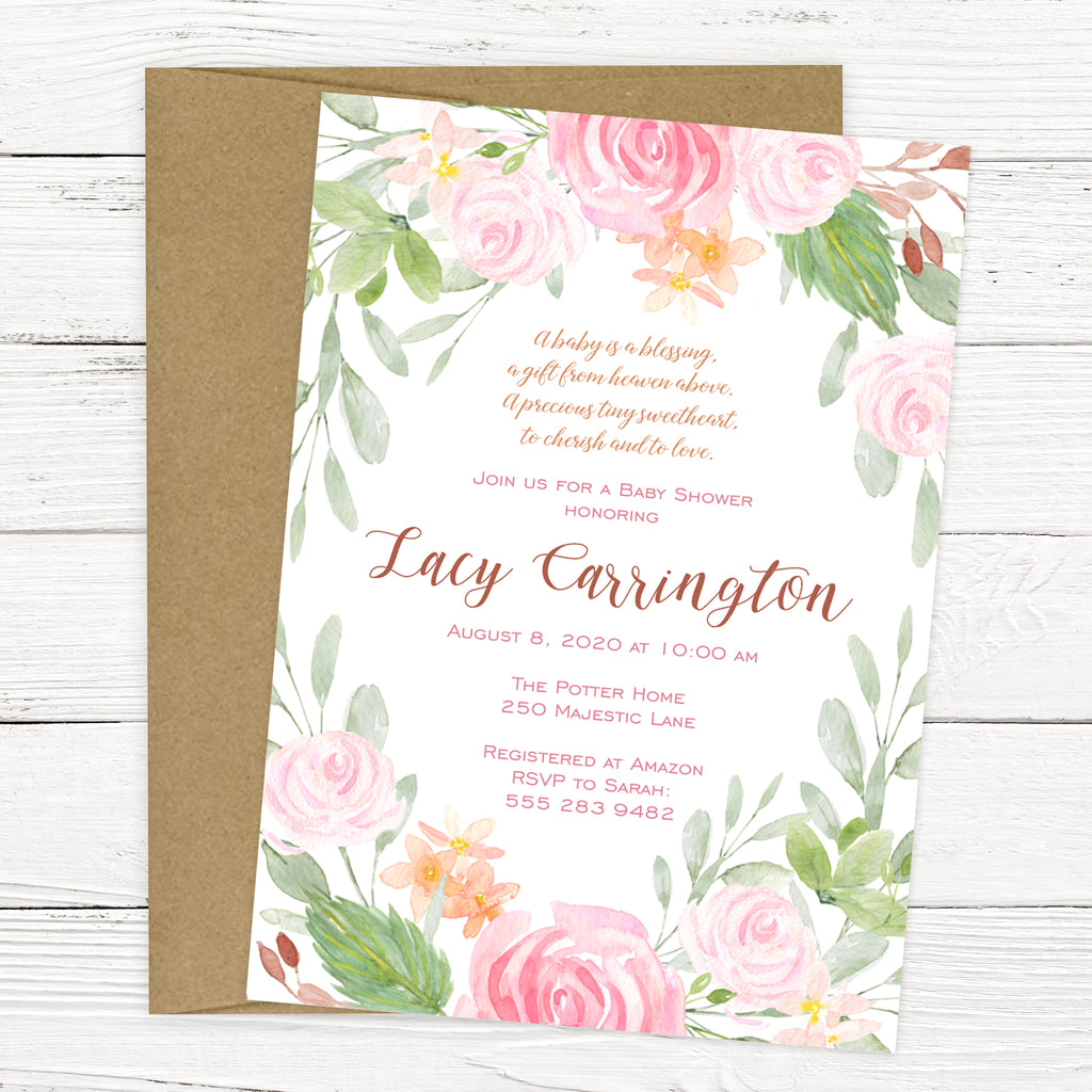 Blush Pink Floral Baby Shower Invitation