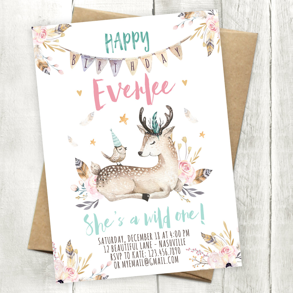 Wild One Deer Birthday Invitation