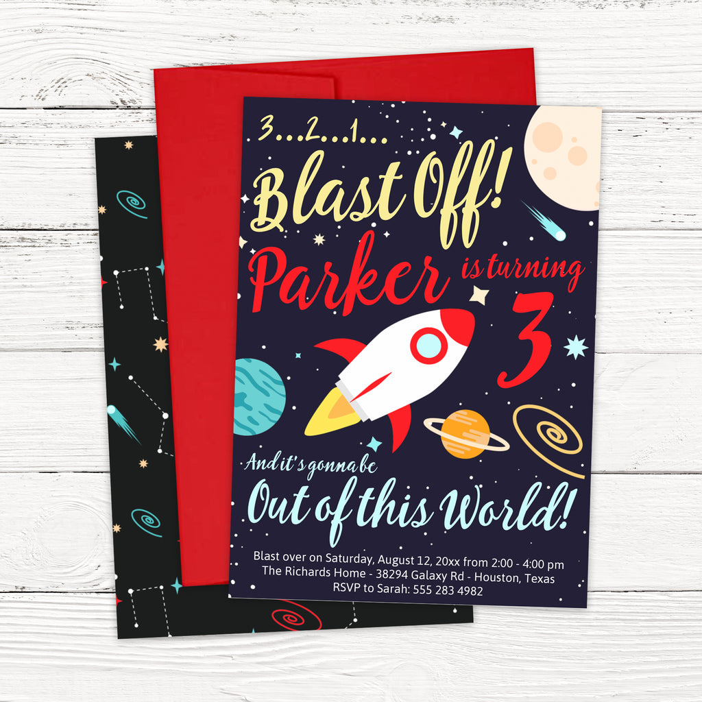 Boy Outer Space Birthday Invitation