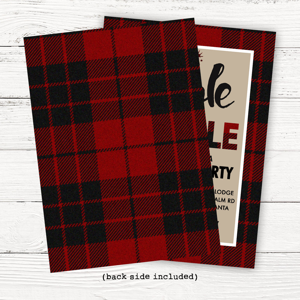 Red Plaid Christmas Party Invitation