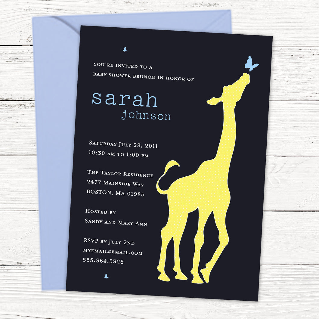 Curious Giraffe Boy Baby Shower Invitation