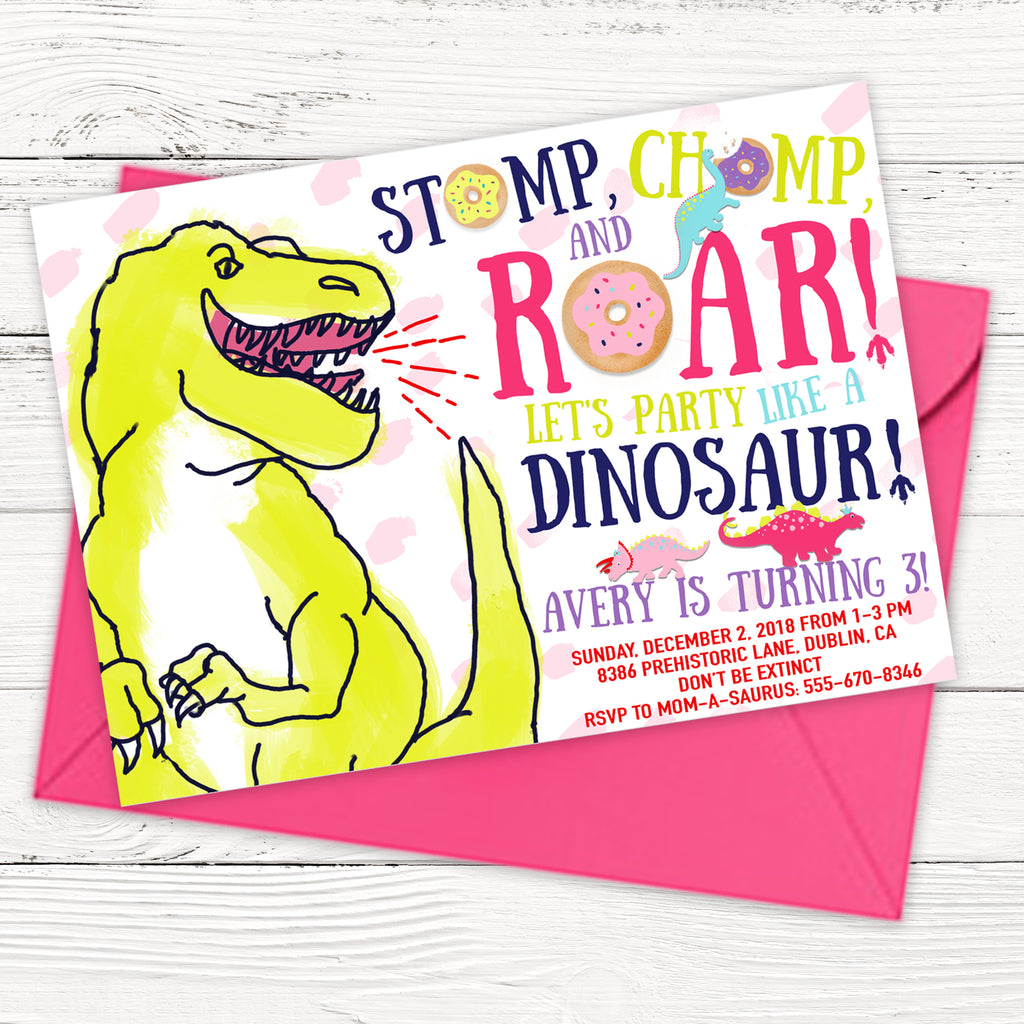 Girl Dinosaurs and Donuts Birthday Party Invitation