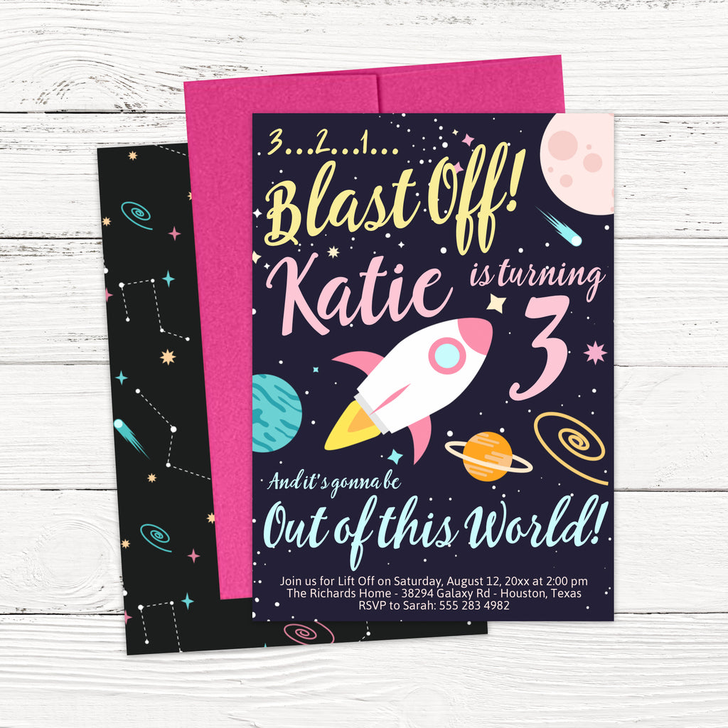 Girl Outer Space Birthday Invitation