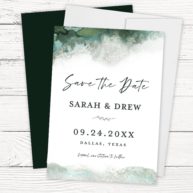 Emerald Green Watercolor Save the Dates