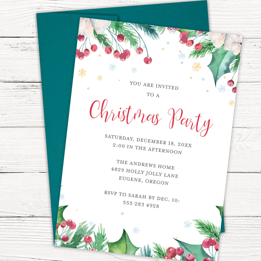 Holly Jolly Christmas Party Invitation