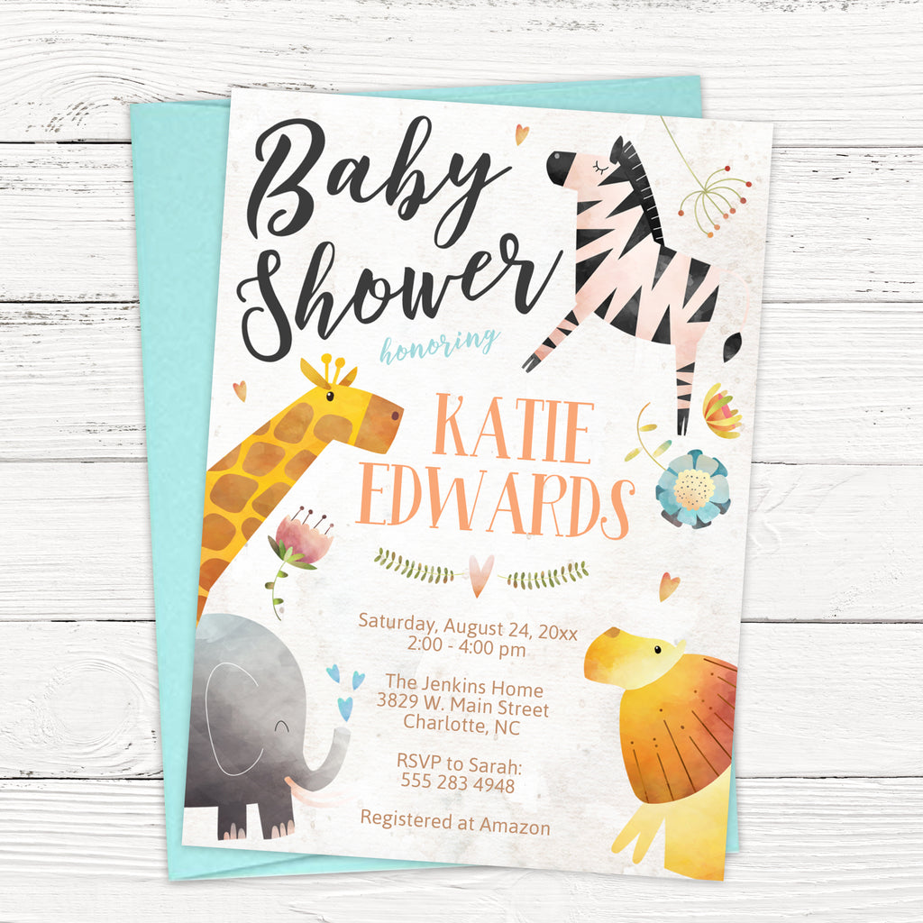 Elegant Jungle Animals Baby Shower Invitation