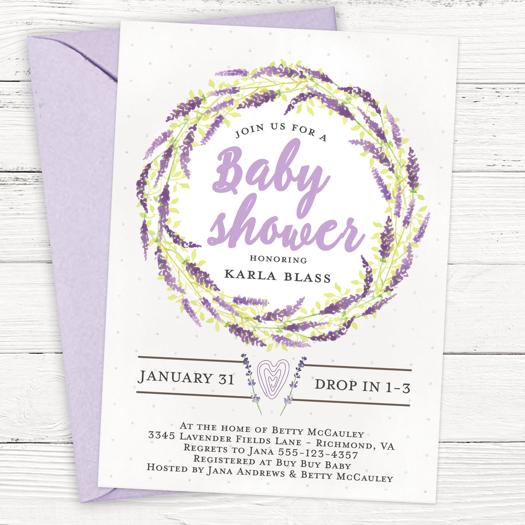Lavender Wreath Baby Shower Invitation