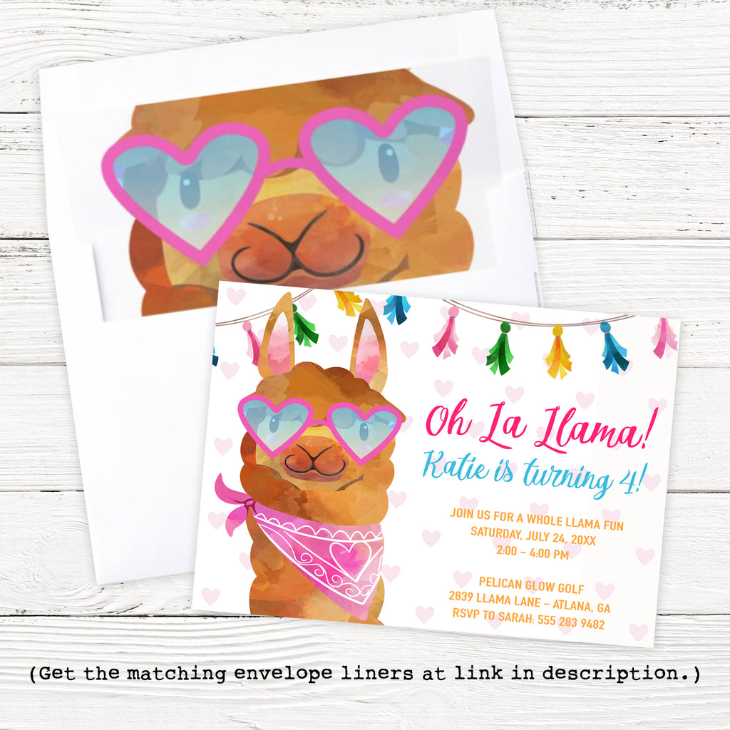 Oh La Llama Birthday Invitation