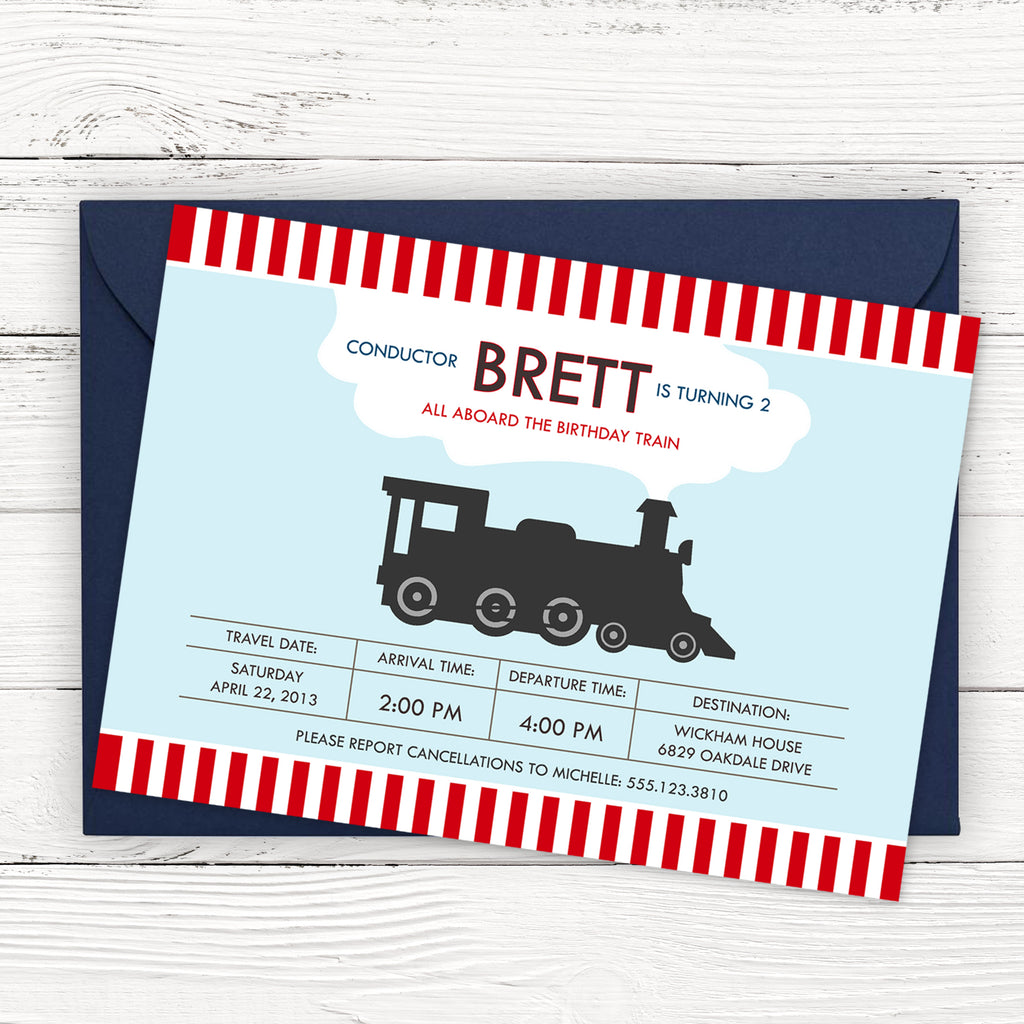 Locomotive Train Birthday Invitation
