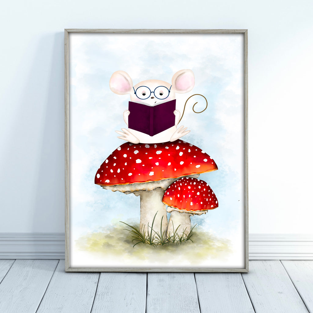 Mouse Reading on a Mushroom Wall Art
