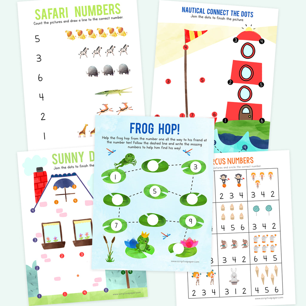 10 Worksheets for Learning Numbers 1-20